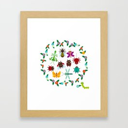 Funny insects Spider butterfly caterpillar dragonfly mantis beetle wasp ladybugs Framed Art Print