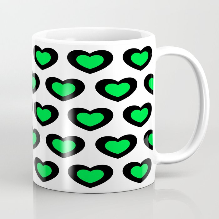 Green and black hearts. Coffee Mug