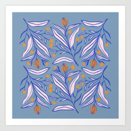 Flowers with blue and pink leaves and with orange berries Art Print
