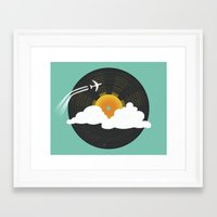 records Framed Art Prints featuring Sunburst Records by Dianne Delahunty