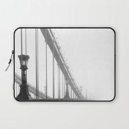 Bridge lost in fog Black and White Laptop Sleeve