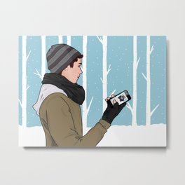 sledding. wish you were here.  Metal Print
