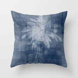 Modern Palm Tree    Blue + White Throw Pillow