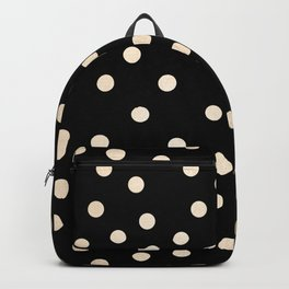 Simply Dots White Gold Sands on Midnight Black Backpack