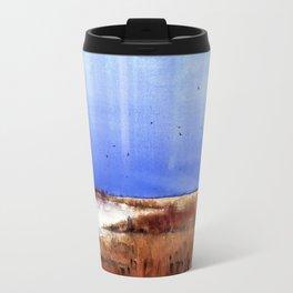 Vertical stripes over grassy landscape Travel Mug