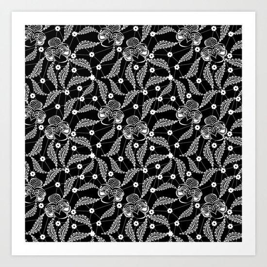 White vintage lace . Art Print