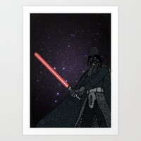 darth vader Art Prints featuring Darth Vader  by Rebecca Bear