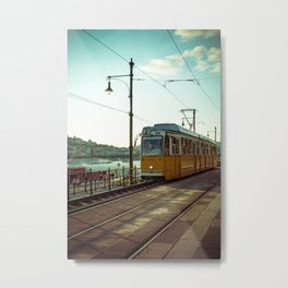 Retro Tram 2 in Budapest. Yellow tram photography. Metal Print