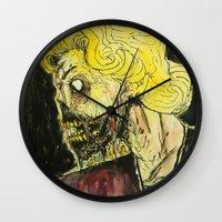zombies Wall Clocks featuring zombies by Marcelo O. Maffei