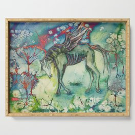 Psychedelic horse in desolated landscape Serving Tray