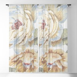 Circular Pastel Florals Sheer Curtain