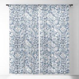William Morris Navy Bunny & Pheasant Pattern Sheer Curtain