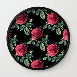 Pattern with roses 3 Wall Clock