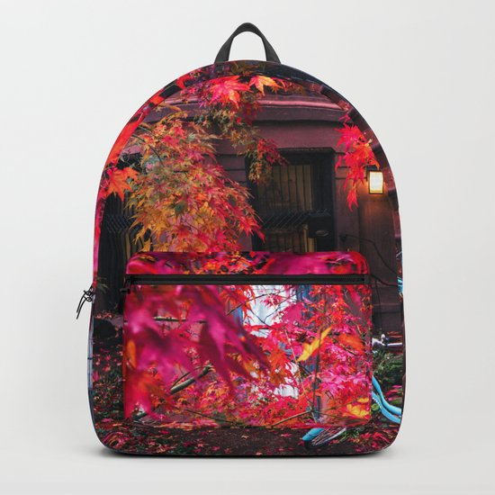 New York City Brooklyn Bicycle and Autumn Foliage Backpack