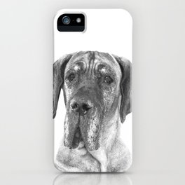 Black and White Great Dane iPhone Case