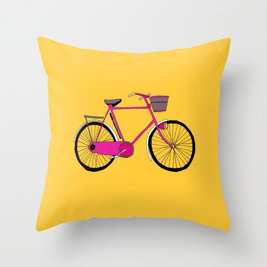 Bicycle Print Throw Pillow : Bicycle Throw Pillow by Bluebutton Studio Society6