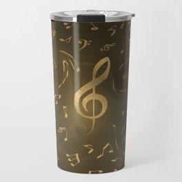 gold music notes swirl pattern Travel Mug