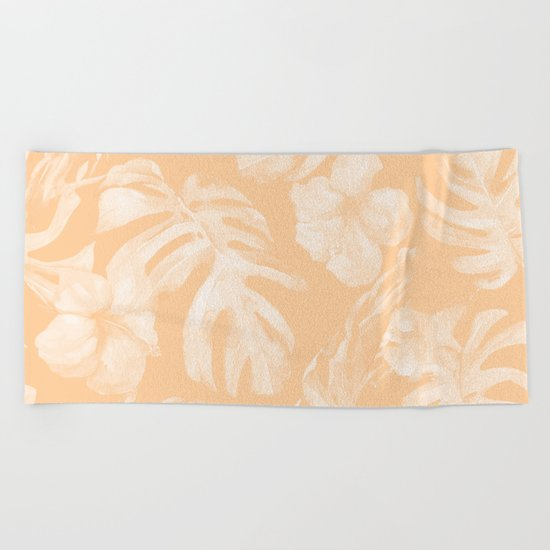 Island Vacation Hibiscus Palm Leaf Coral Mango Orange Beach Towel