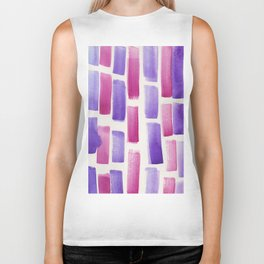 Stripe Violet Pink   | 190213 Watercolour Abstract Painting Biker Tank