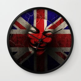 Guy Fawkes Day Union Jack Distressed Flag and Mask Wall Clock