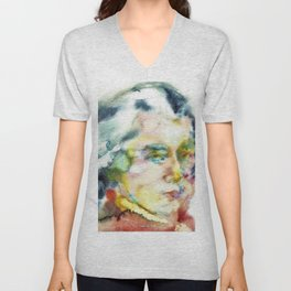 WOLFGANG AMADEUS MOZART - watercolor portrait Unisex V-Neck