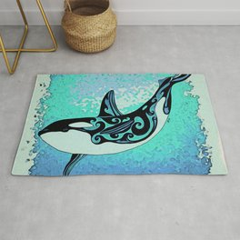 Orca Whale Dance Teal blue Rug