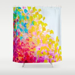 CREATION IN COLOR - Vibrant Bright Bold Colorful Abstract Painting Cheerful Fun Ocean Autumn Waves Shower Curtain