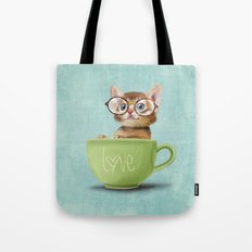 Kitten with glasses Tote Bag