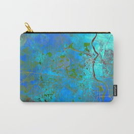 Delhi India Street Map Art Watercolor Blue Carry-All Pouch