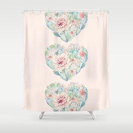 Three Hearts Cactus Rose Shower Curtain