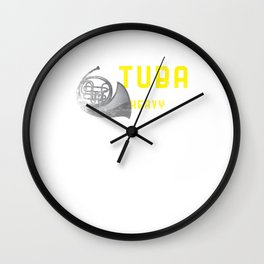Tuba Is Getting Heavy Now Distressed Funny Tubaist Musicians Musical Notes Instruments Gift Wall Clock