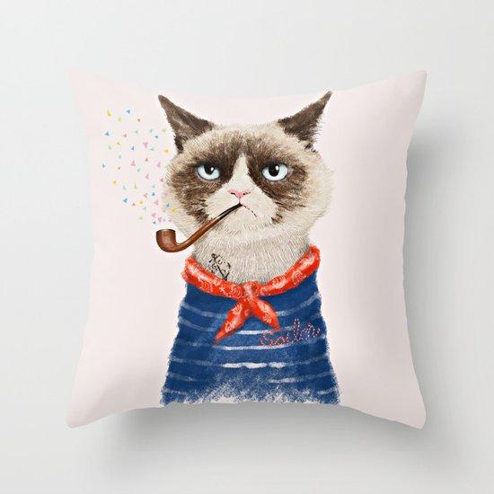 Sailor Cat V Throw Pillow