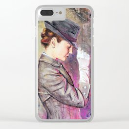 Grey Fedora Clear iPhone Case