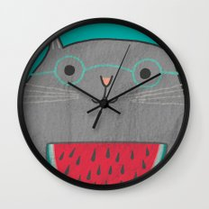 I Can Haz Watermelon  Wall Clock