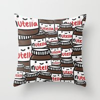 nutella Throw Pillows featuring Nutella Love by Pink Berry Patterns