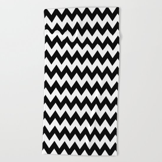 Black White Chevron Beach Towel