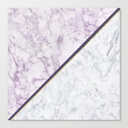 Lavender white faux gold abstract geometric marble Canvas Print
