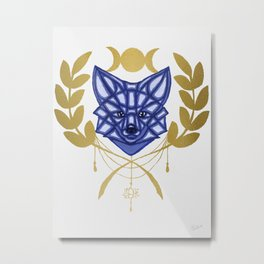 Blue Fox and Moon Metal Print