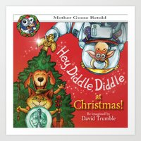 """""""Hey, Diddle, Diddle at Chistmas"""" (Mother Goose Retold-Front cover) Art Print"""