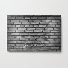 Black and white brick wal Metal Print