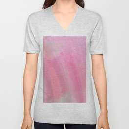 Modern abstract pink coral watercolor brushstrokes Unisex V-Neck