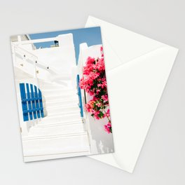 Colorful Blue Gate and White Staircases in Oia Santorini Island Greece Stationery Cards
