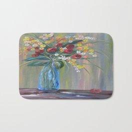 Flowers in a Blue Vase Soft Focus Bath Mat