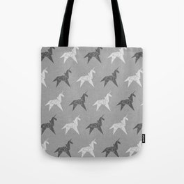 Origami Unicorn Grey Tote Bag