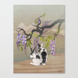Two Rabbits Under Wisteria Tree Canvas Print