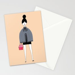 Girl in grey cape Stationery Cards