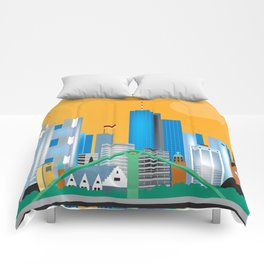 Frankfurt, Germany - Skyline Illustration by Loose Petals Comforters