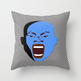 blue man head design digital art male face shouts zollione store art Throw Pillow