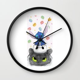 Baby Toothless Dragon and Stitch Wall Clock
