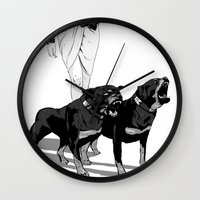 rottweiler Wall Clocks featuring Fashion Rottweiler  by Gregory Casares